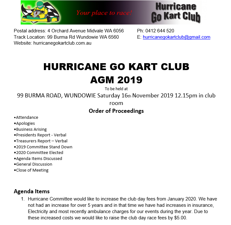 Notice of Hurricane Go Kart Club 2019 AGM