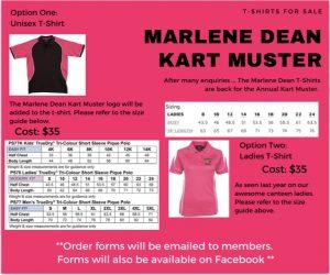 Marlene Dean Kart Muster T-shirt sizing guides